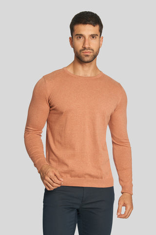 Melange Orange Crew Neck Cotton Sweater