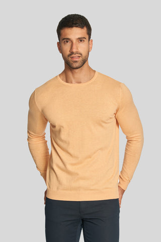 Melange Salmon Crew Neck Cotton Sweater