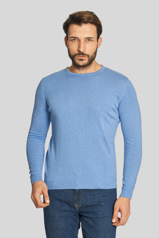 Blue Crew Neck Cotton Sweater
