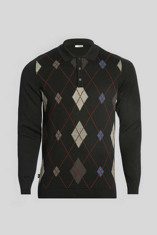 Polo Neck Diamond Pattern Cotton Black Sweater