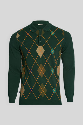 Polo Neck Diamond Pattern Cotton Green Sweater