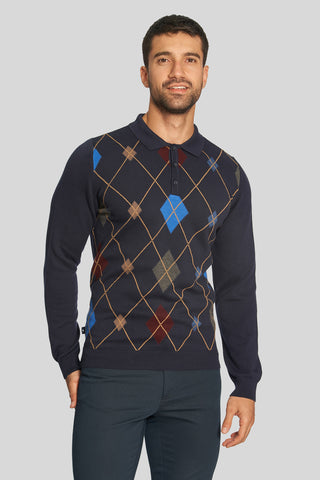 Polo Neck Diamond Pattern Cotton Dark Navyblue Sweater