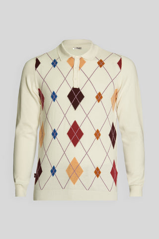 Polo Neck Diamond Pattern Cotton Ecru Sweater