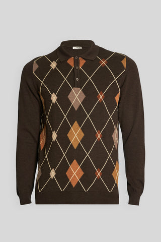 Polo Neck Diamond Pattern Cotton Melange Brown Sweater