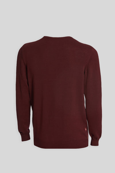 Crew Neck Diamond Patterned Cotton Burgundy Sweater