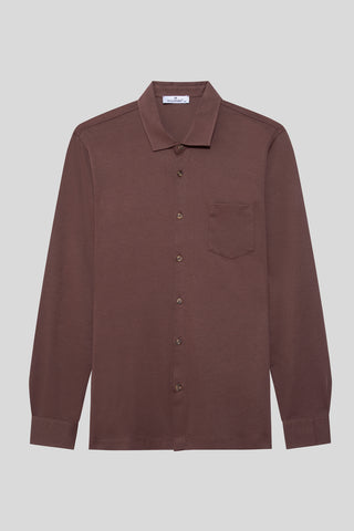 Buttoned Italian Neck Brown Shirt