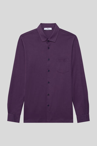 Buttoned Italian Neck Dark Purple Shirt