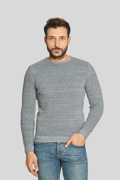 Crew Neck Cotton Melange Gray-Dark Gray Sweater