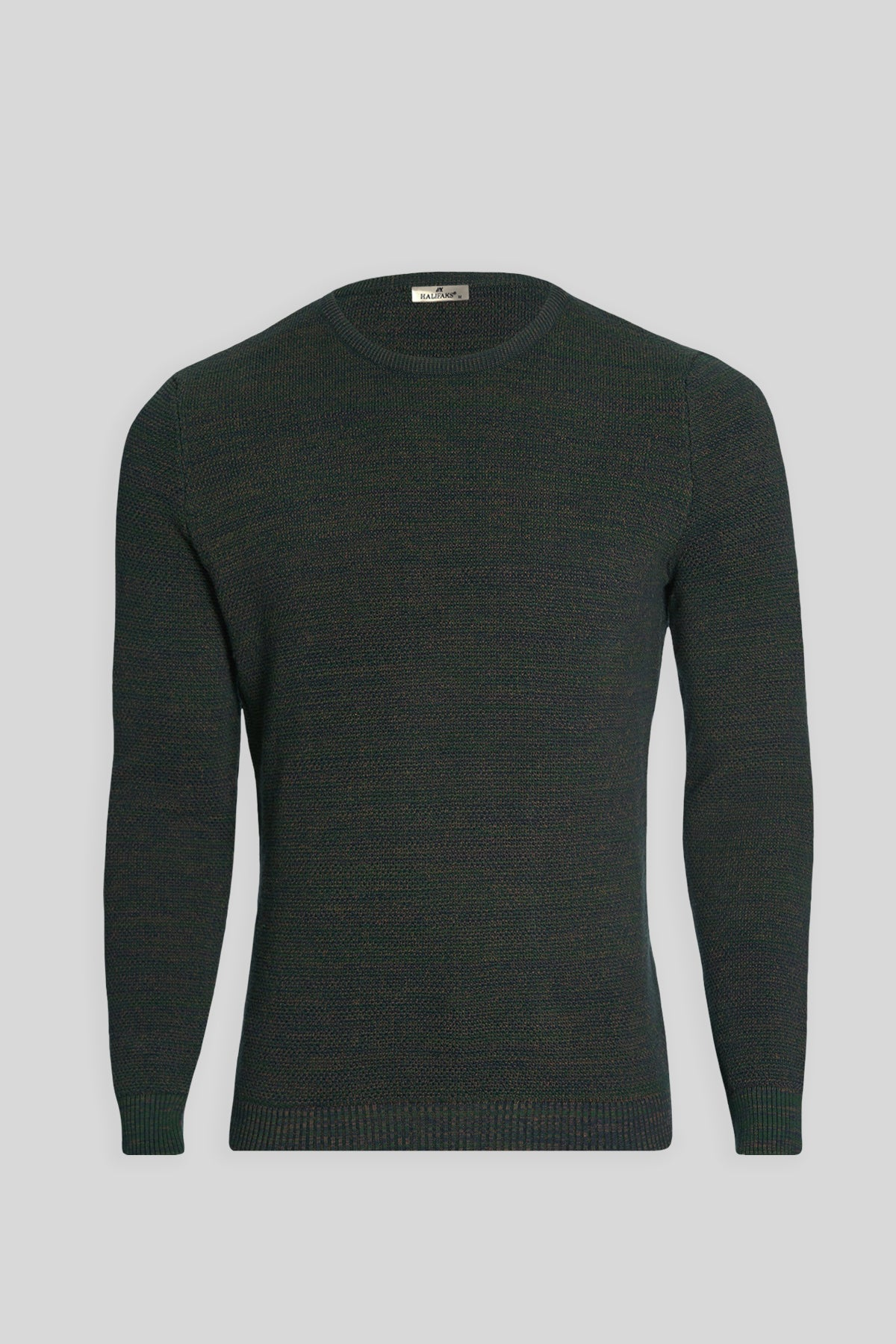 Crew Neck Cotton Green-Navy Blue Sweater