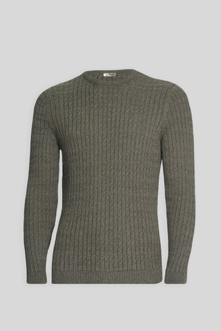 Crew Neck Cable Knit Patterned Cotton Dark Gray Sweater