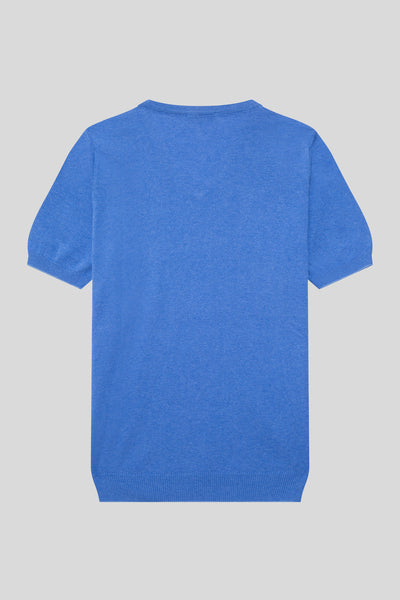 V Neck Cotton Melange Sax T-Shirt