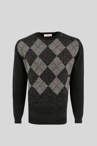 Crew Neck Diamond Patterned Cotton Black Sweater