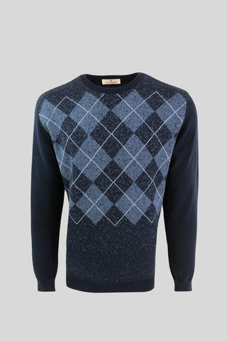 Crew Neck Diamond Patterned Cotton Navy Sweater