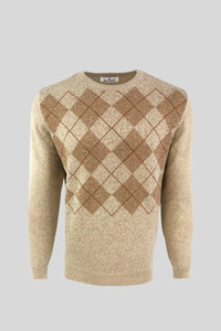 Crew Neck Diamond Patterned Cotton Beige Sweater