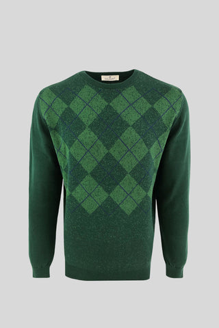 Crew Neck Diamond Patterned Cotton Green Sweater