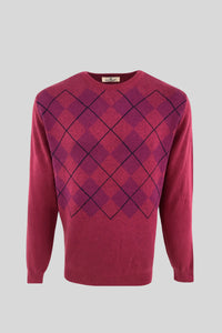 Crew Neck Diamond Patterned Cotton Rose Color Sweater