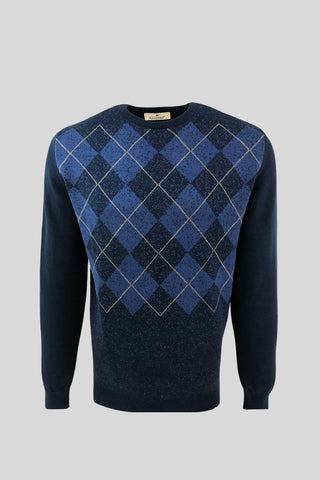 Crew Neck Diamond Patterned Cotton Indigo Sweater