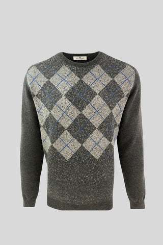 Crew Neck Diamond Patterned Cotton Dark Gray Sweater