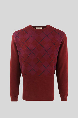 Crew Neck Diamond Patterned Cotton Plum Sweater