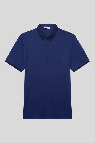 Oversized Buttoned Polo Neck Cotton Light Navy Blue T-Shirt