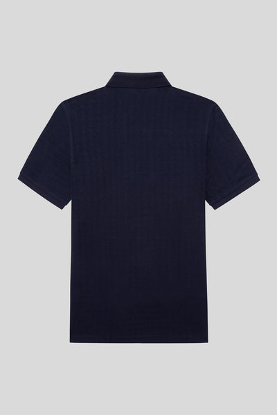 Buttoned Polo Neck Cotton Navy Blue T-Shirt