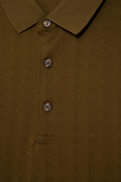 Buttoned Polo Neck Cotton Khaki T-Shirt