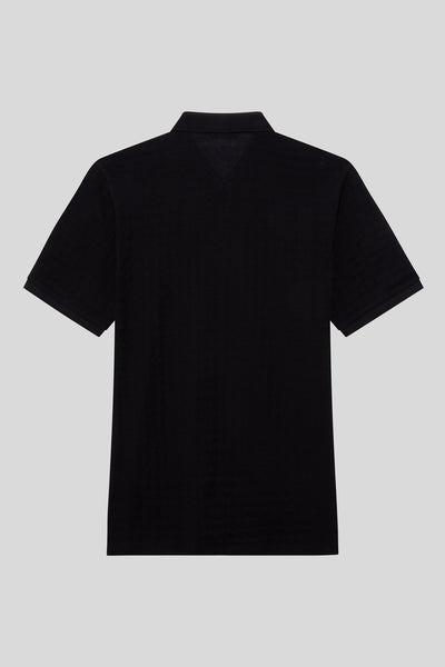 Oversized Buttoned Polo Neck Cotton Black T-Shirt