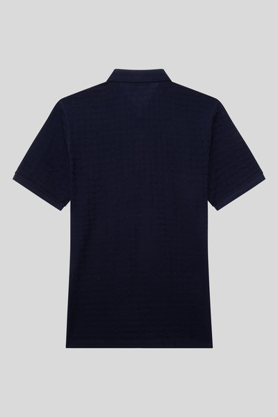 Polo Neck Cotton Navy Blue T-Shirt With Plus Size Button