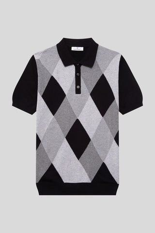Buttoned Polo Neck Diamond Patterned Cotton Black T-Shirt