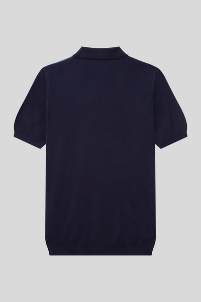 Buttoned Polo Neck Diamond Patterned Cotton Dark Navy T-Shirt