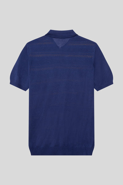 Zippered Polo Neck Striped Pattern Viscose Light Navy T-Shirt