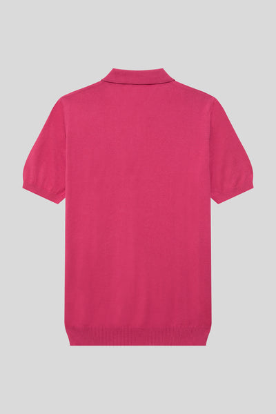 Buttoned Polo Neck Patterned Cotton Rose Color T-Shirt