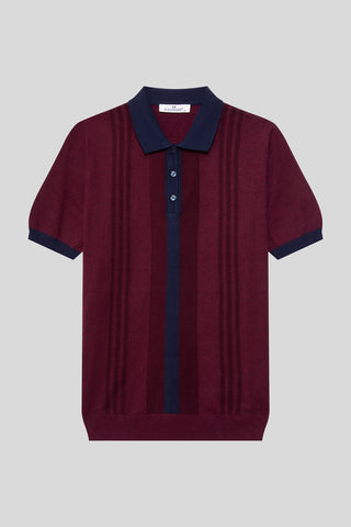 Buttoned Polo Neck Patterned Cotton Melange Plum T-Shirt
