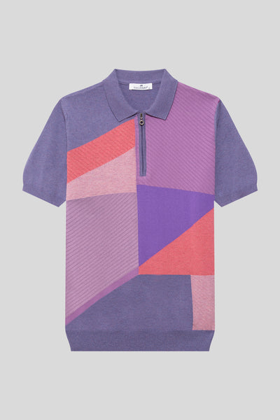 Zippered Polo Neck Patterned Cotton Dark Lilac T-Shirt