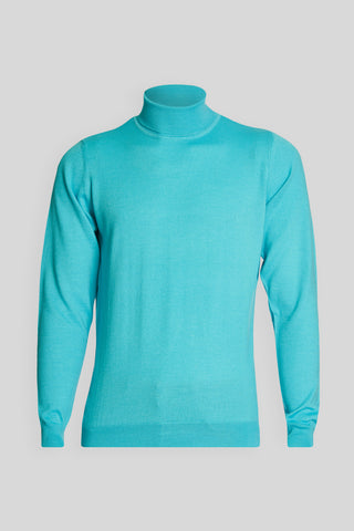 Turtle Neck Wool Turquoise Sweater
