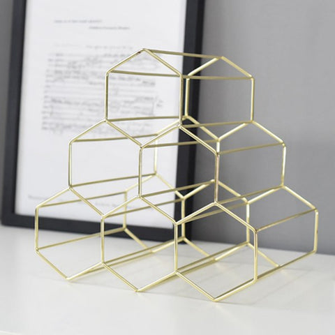 Geometric Wine Rack Display