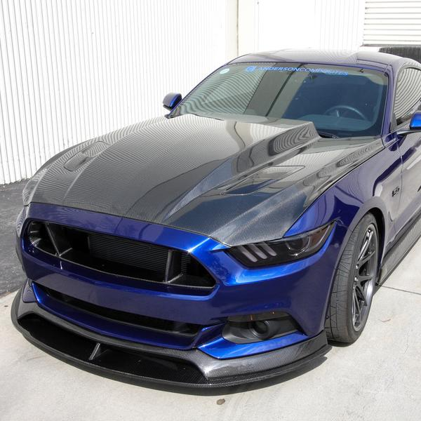 Anderson Composites - 2015 - 2017 MUSTANG DOUBLE SIDED CARBON FIBER COWL HOOD
