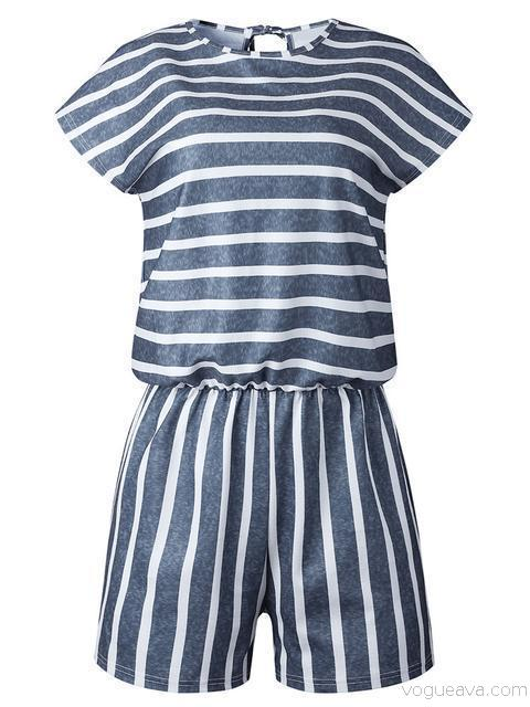 Stripes Print Casual Romper