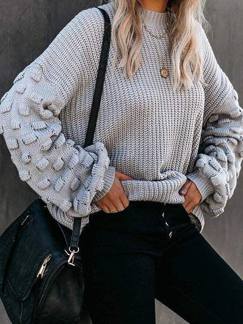 Loose Long Sleeved Knitted Pullover Sweater
