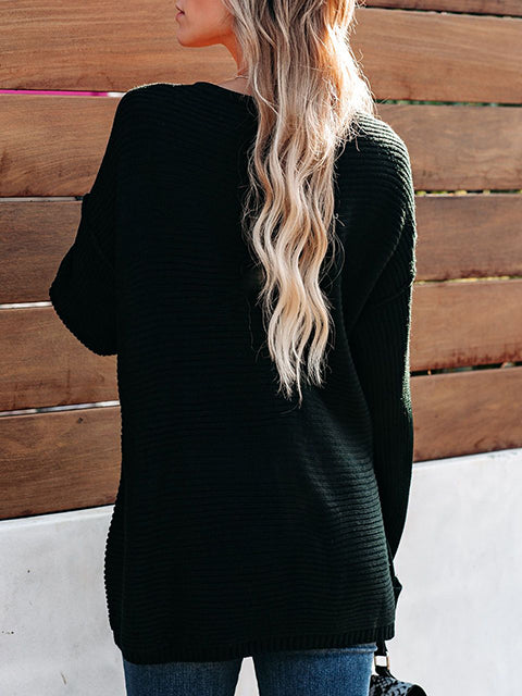 V-neck Loose Knitted Pullover Sweater