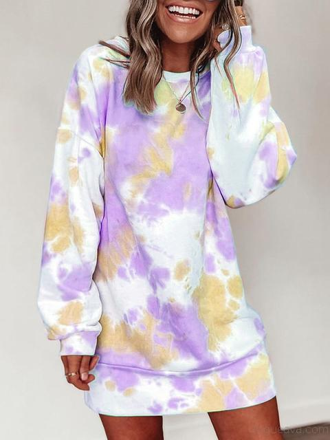 Round Neck Tie-dye Dress Sweatshirt