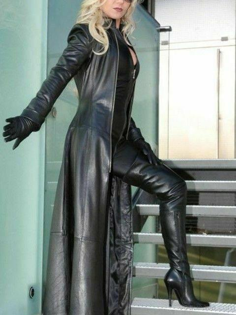 Stand Collar Zipper Long Leather Coat