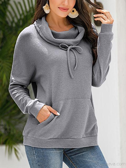 Pile Collar Plush Sweatshirt With Pocket