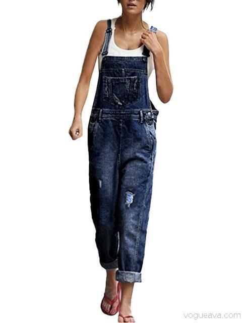 Denim Loose Solid Long Rompers