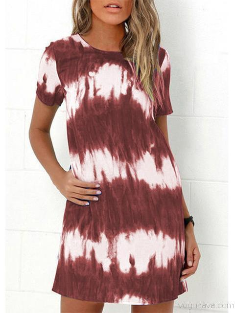 Casual Tie-dye Slim Midi Dress