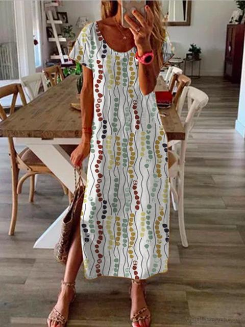 Casual Print Short Sleeve Dress