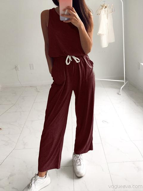 Round Neck Casual Jumpsuit