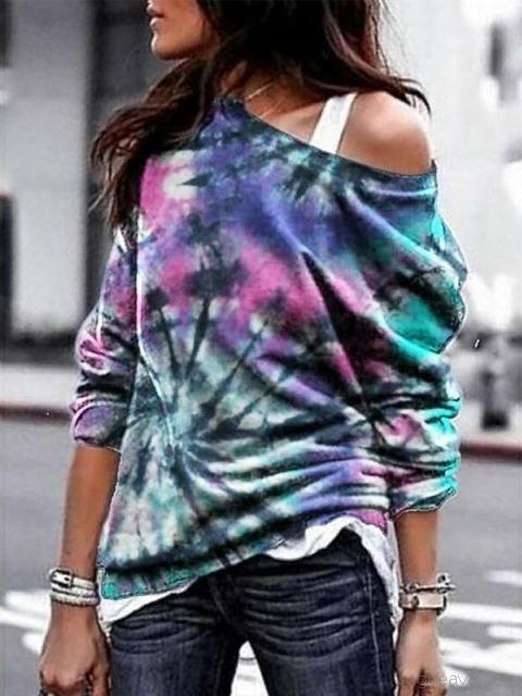 Loose Tie-Dye Printed Long-Sleeved Sweatshirt