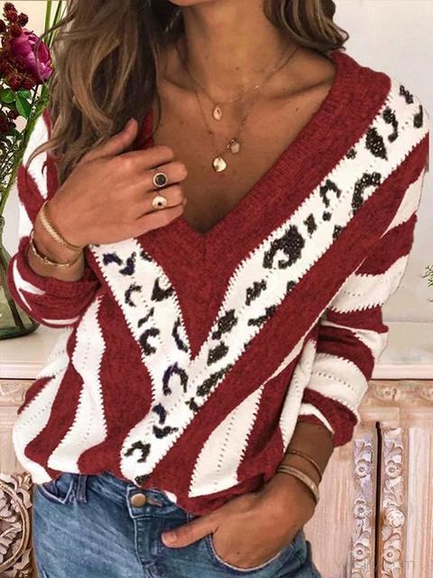 Leopard Patchwork V-neck Knitted Sweater