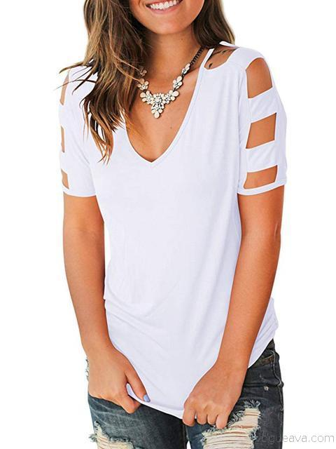 Casual Solid Short Sleeve Tops